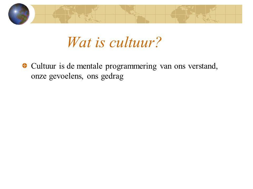 Wat is cultuur? Cultuur is de mentale programmering van ons verstand, onze gevoelens, ons gedrag