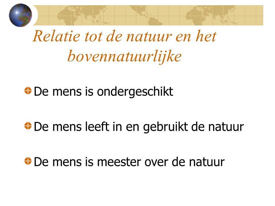 Relatie tot de natuur en het bovennatuurlijke De mens is ondergeschikt De mens leeft in en gebruikt de natuur De mens is meester over de natuur