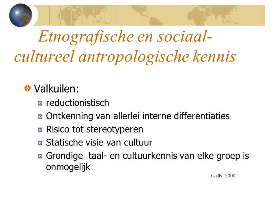 Etnografische en sociaal- cultureel antropologische kennis Valkuilen: reductionistisch Ontkenning van allerlei interne differentiaties Risico tot ster