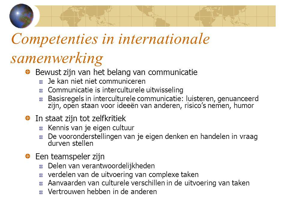 Competenties in internationale samenwerking Bewust zijn van het belang van communicatie Je kan niet niet communiceren Communicatie is interculturele u