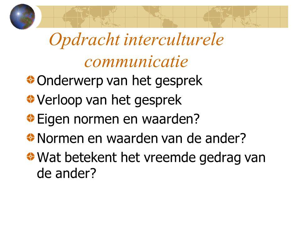 Opdracht interculturele communicatie Onderwerp van het gesprek Verloop van het gesprek Eigen normen en waarden.