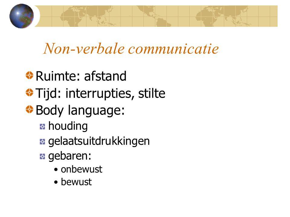 Non-verbale communicatie Ruimte: afstand Tijd: interrupties, stilte Body language: houding gelaatsuitdrukkingen gebaren: onbewust bewust
