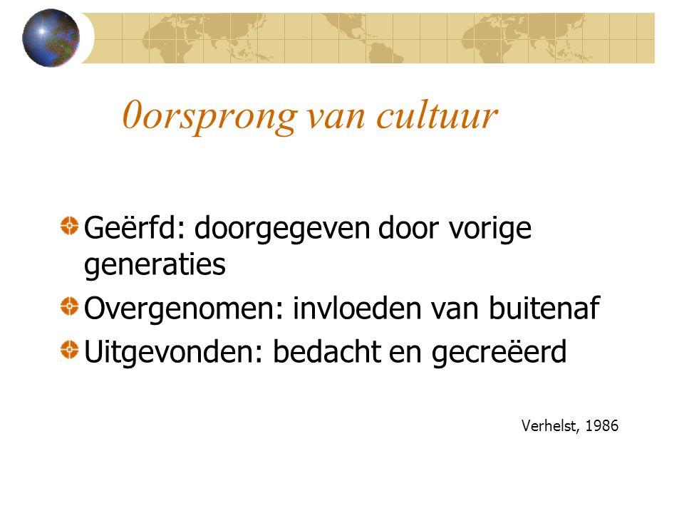 0orsprong van cultuur Geërfd: doorgegeven door vorige generaties Overgenomen: invloeden van buitenaf Uitgevonden: bedacht en gecreëerd Verhelst, 1986