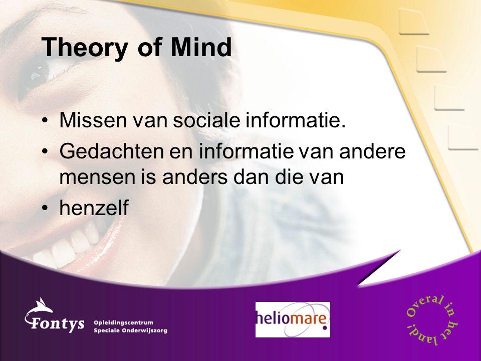 Theory of Mind Missen van sociale informatie. Gedachten en informatie van andere mensen is anders dan die van henzelf