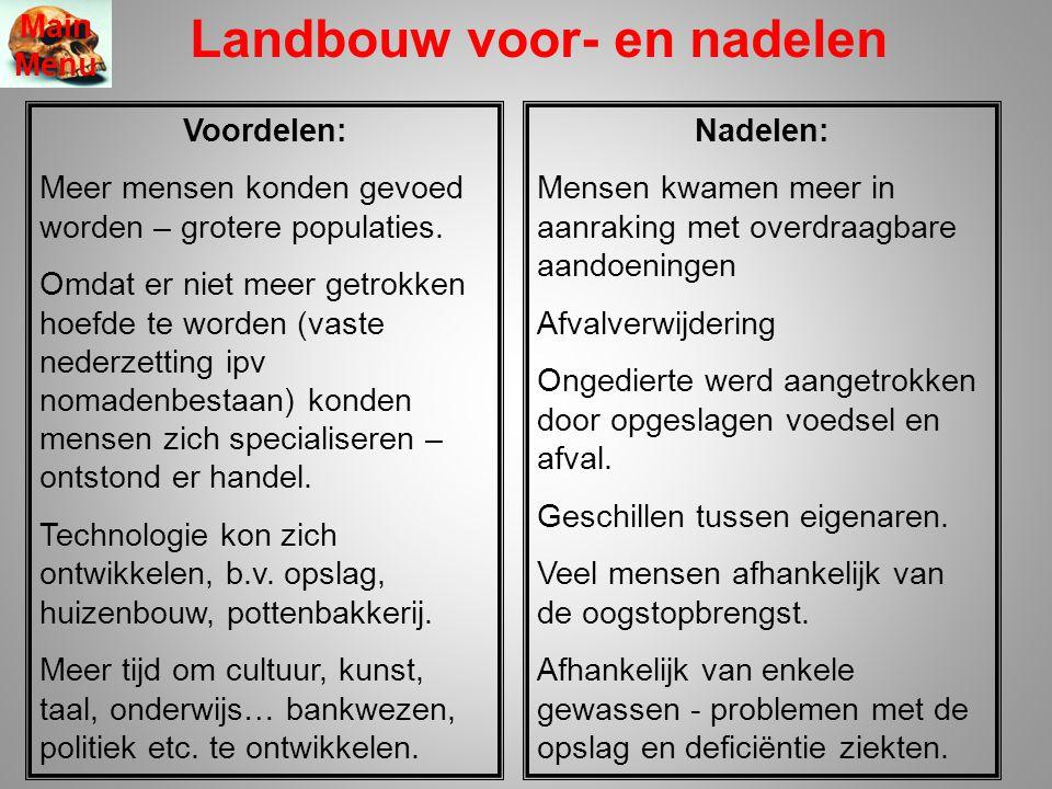 Landbouw voor- en nadelen Main Menu Voordelen: Meer mensen konden gevoed worden – grotere populaties.