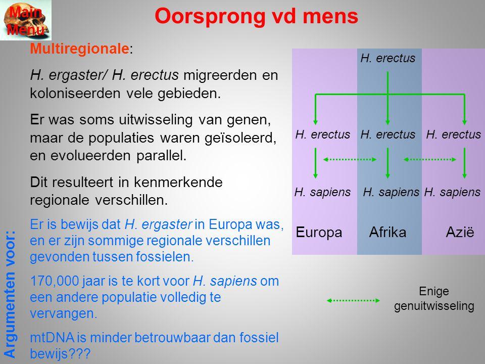 Oorsprong vd mens Multiregionale: H. ergaster/ H. erectus migreerden en koloniseerden vele gebieden. Er was soms uitwisseling van genen, maar de popul
