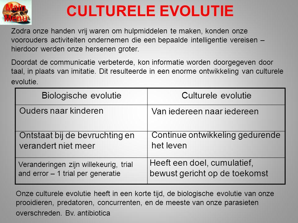 CULTURELE EVOLUTIE Zodra onze handen vrij waren om hulpmiddelen te maken, konden onze voorouders activiteiten ondernemen die een bepaalde intelligenti