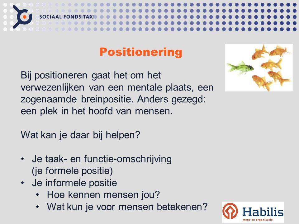 Positionering Bij positioneren gaat het om het verwezenlijken van een mentale plaats, een zogenaamde breinpositie.