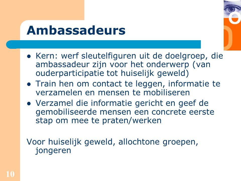 10 Ambassadeurs Kern: werf sleutelfiguren uit de doelgroep, die ambassadeur zijn voor het onderwerp (van ouderparticipatie tot huiselijk geweld) Train