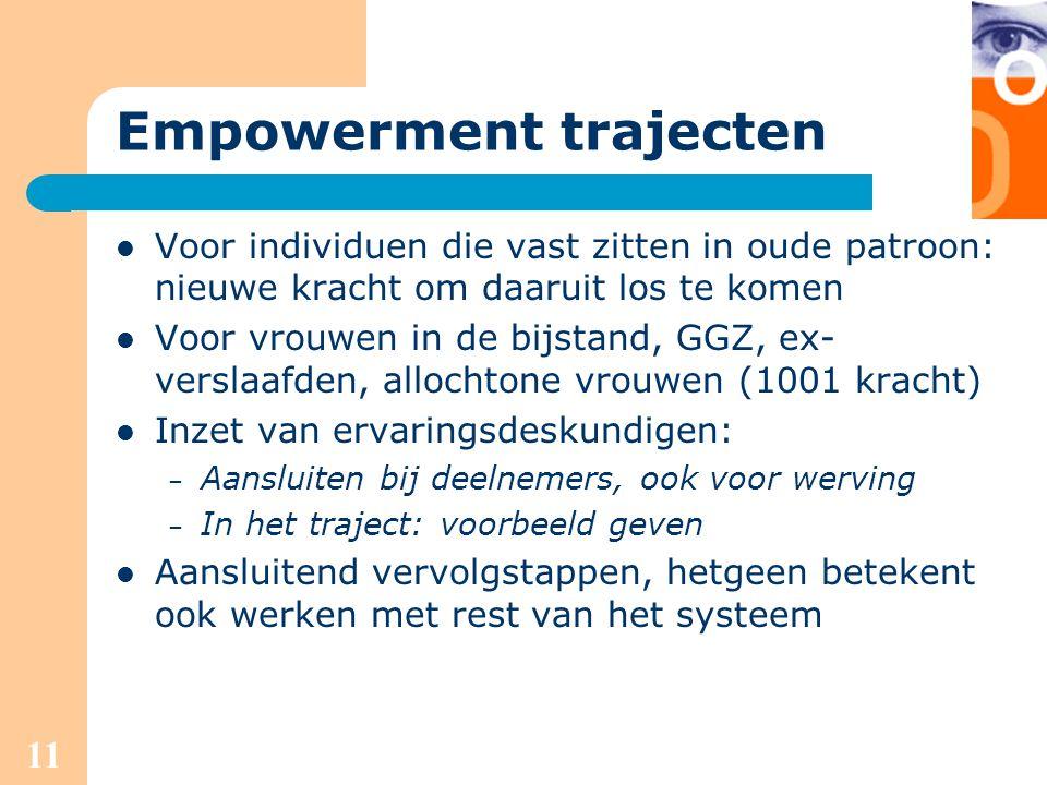 11 Empowerment trajecten Voor individuen die vast zitten in oude patroon: nieuwe kracht om daaruit los te komen Voor vrouwen in de bijstand, GGZ, ex-
