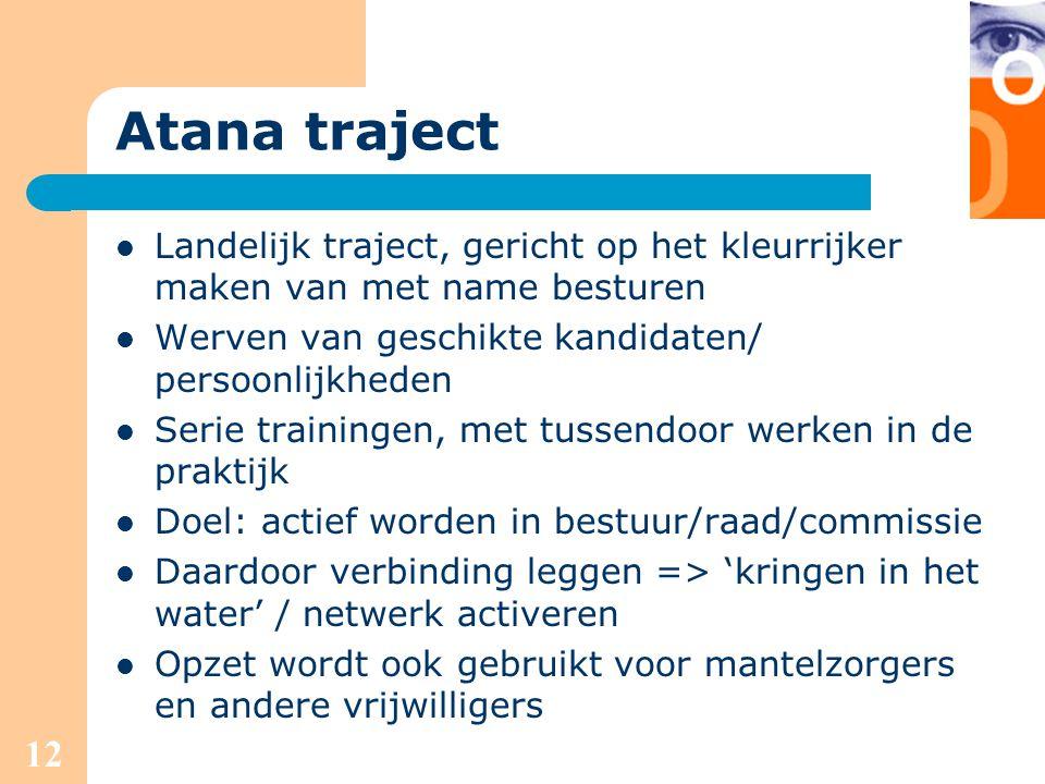 12 Atana traject Landelijk traject, gericht op het kleurrijker maken van met name besturen Werven van geschikte kandidaten/ persoonlijkheden Serie tra