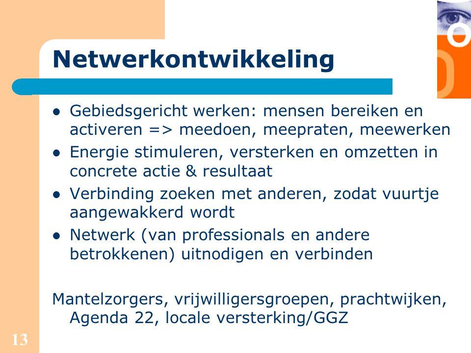 13 Netwerkontwikkeling Gebiedsgericht werken: mensen bereiken en activeren => meedoen, meepraten, meewerken Energie stimuleren, versterken en omzetten