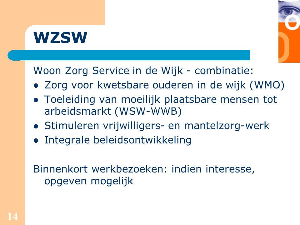 14 WZSW Woon Zorg Service in de Wijk - combinatie: Zorg voor kwetsbare ouderen in de wijk (WMO) Toeleiding van moeilijk plaatsbare mensen tot arbeidsm