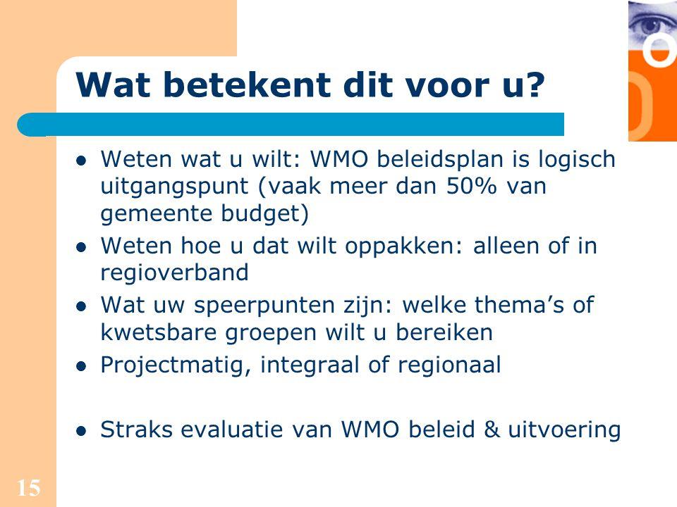 15 Wat betekent dit voor u? Weten wat u wilt: WMO beleidsplan is logisch uitgangspunt (vaak meer dan 50% van gemeente budget) Weten hoe u dat wilt opp