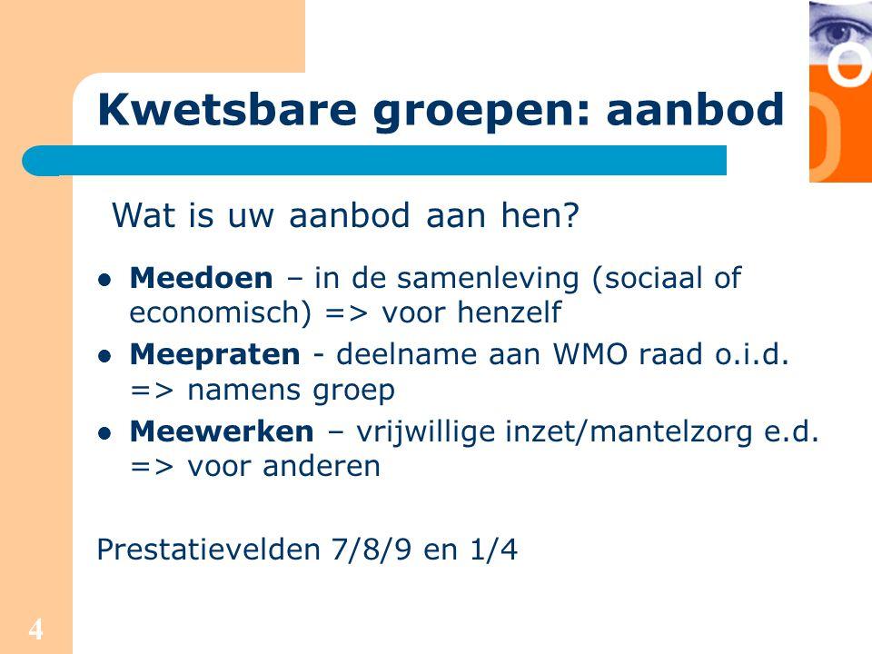 4 Kwetsbare groepen: aanbod Meedoen – in de samenleving (sociaal of economisch) => voor henzelf Meepraten - deelname aan WMO raad o.i.d. => namens gro