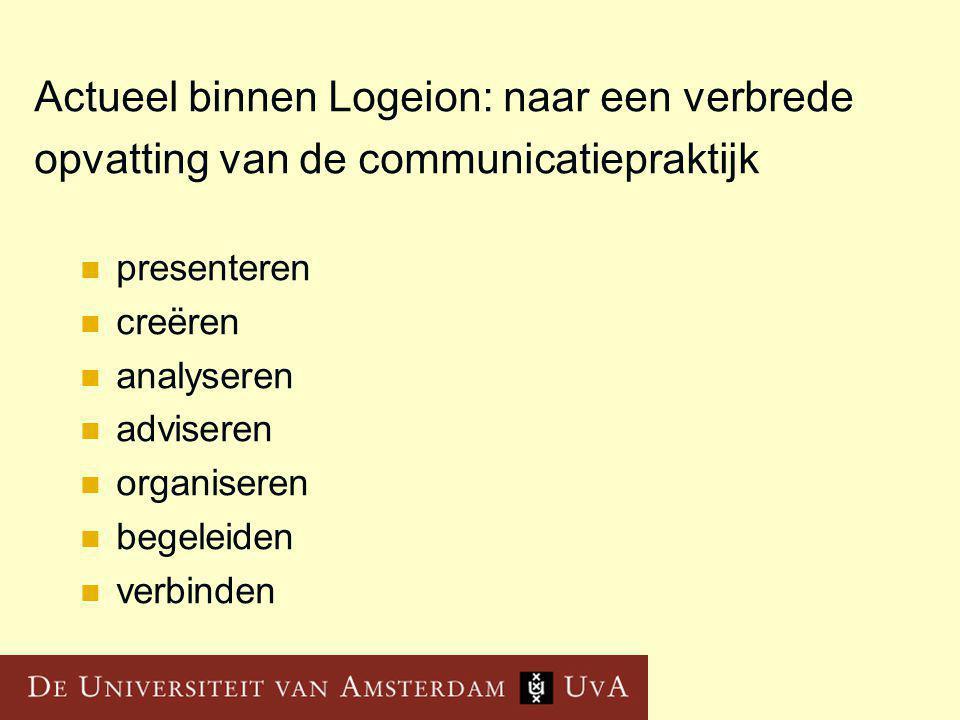 Actueel binnen Logeion: naar een verbrede opvatting van de communicatiepraktijk presenteren creëren analyseren adviseren organiseren begeleiden verbinden