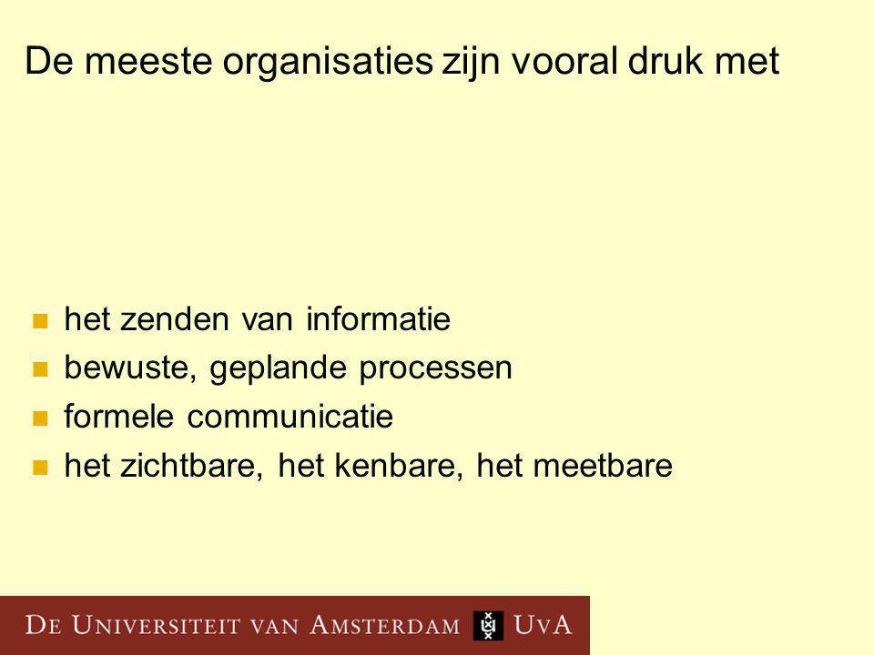De meeste organisaties zijn vooral druk met het zenden van informatie bewuste, geplande processen formele communicatie het zichtbare, het kenbare, het meetbare
