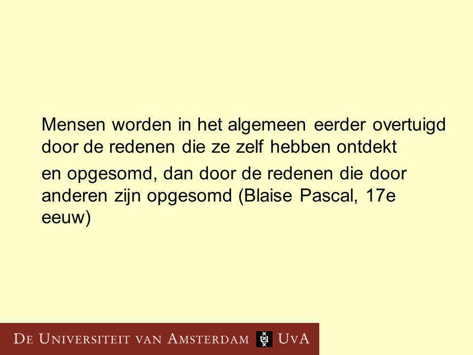 Mensen worden in het algemeen eerder overtuigd door de redenen die ze zelf hebben ontdekt en opgesomd, dan door de redenen die door anderen zijn opgesomd (Blaise Pascal, 17e eeuw)
