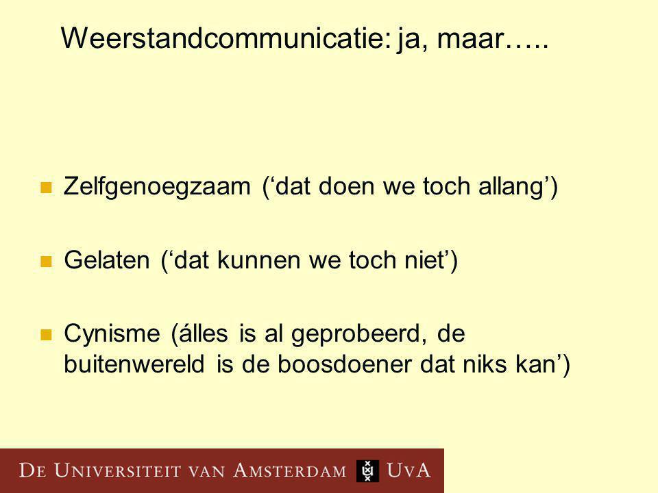 Weerstandcommunicatie: ja, maar…..