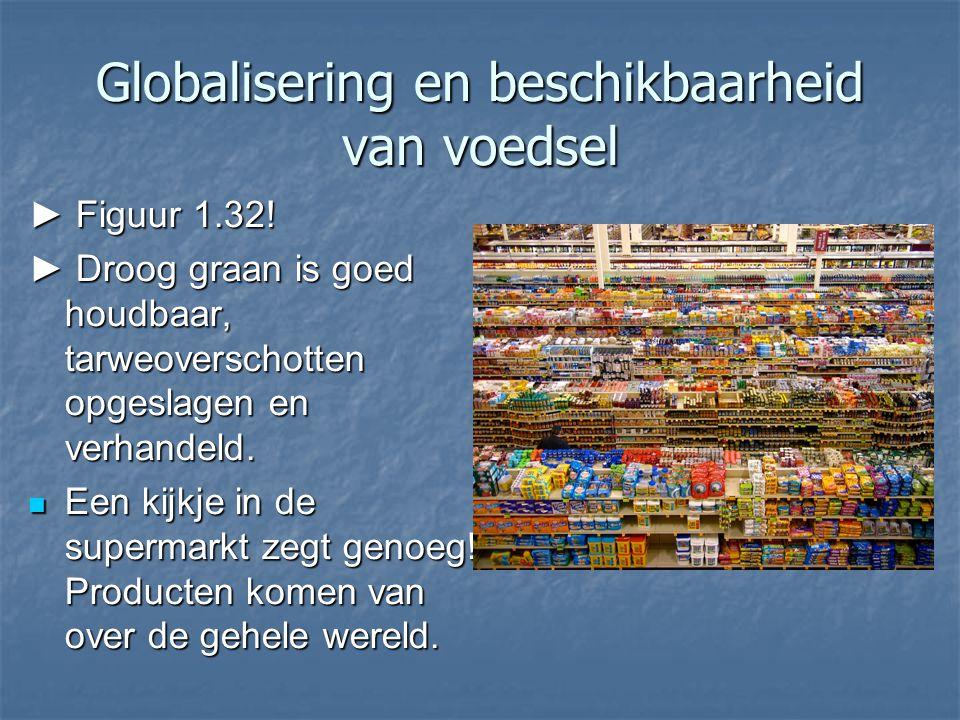 Globalisering en beschikbaarheid van voedsel ► Figuur 1.32! ► Droog graan is goed houdbaar, tarweoverschotten opgeslagen en verhandeld. Een kijkje in