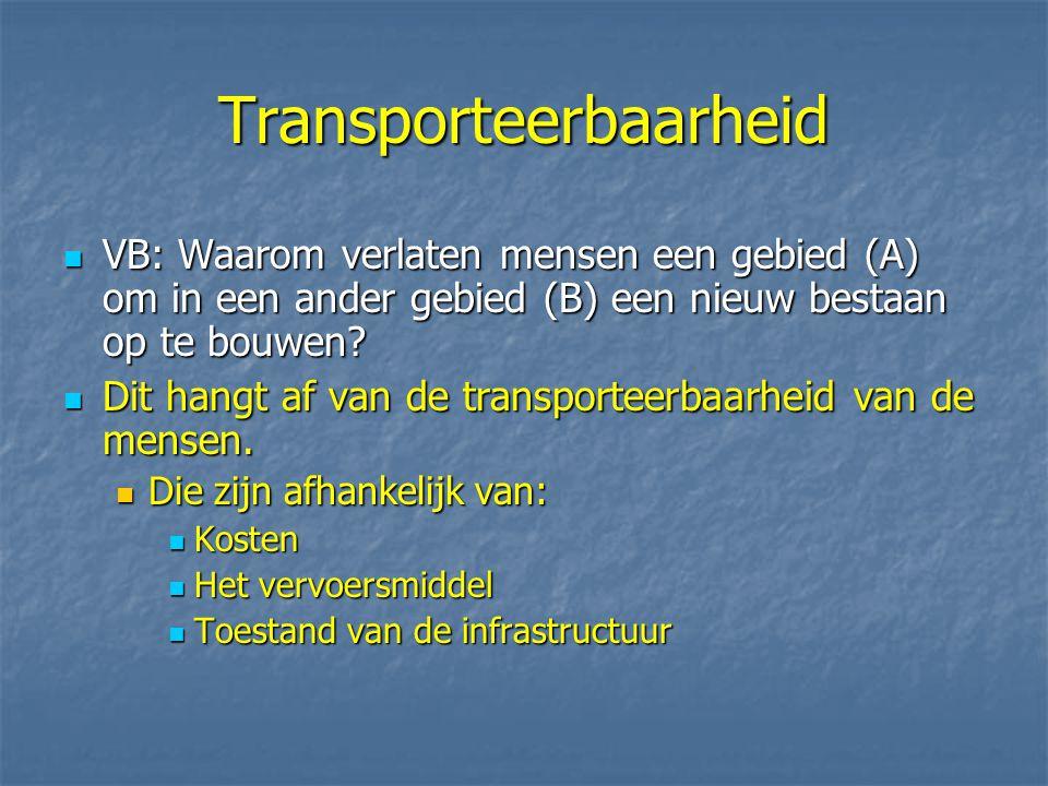 Transporteerbaarheid VB: Waarom verlaten mensen een gebied (A) om in een ander gebied (B) een nieuw bestaan op te bouwen? VB: Waarom verlaten mensen e