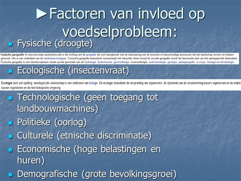 ► Factoren van invloed op voedselprobleem: Fysische (droogte) Fysische (droogte) Ecologische (insectenvraat) Ecologische (insectenvraat) Technologisch