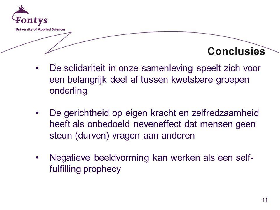 11 Conclusies De solidariteit in onze samenleving speelt zich voor een belangrijk deel af tussen kwetsbare groepen onderling De gerichtheid op eigen k