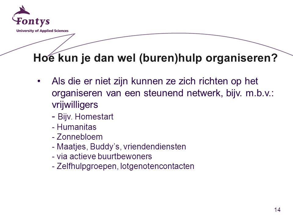 14 Hoe kun je dan wel (buren)hulp organiseren? Als die er niet zijn kunnen ze zich richten op het organiseren van een steunend netwerk, bijv. m.b.v.: