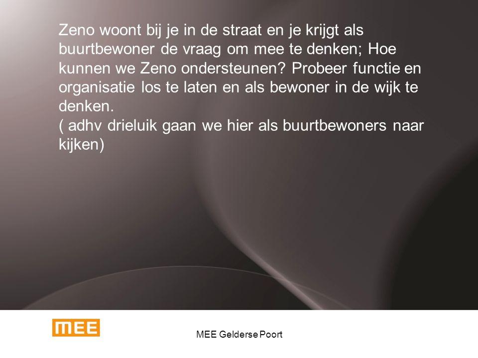 \ Zeno woont bij je in de straat en je krijgt als buurtbewoner de vraag om mee te denken; Hoe kunnen we Zeno ondersteunen? Probeer functie en organisa