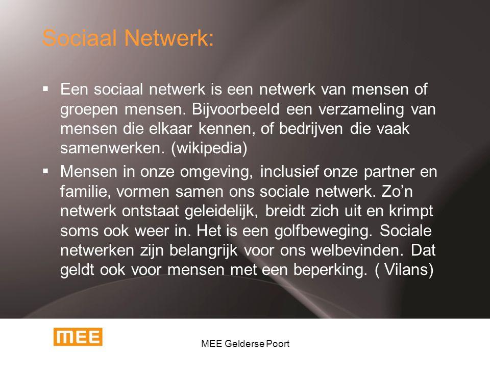 Sociaal Netwerk:  Een sociaal netwerk is een netwerk van mensen of groepen mensen. Bijvoorbeeld een verzameling van mensen die elkaar kennen, of bedr