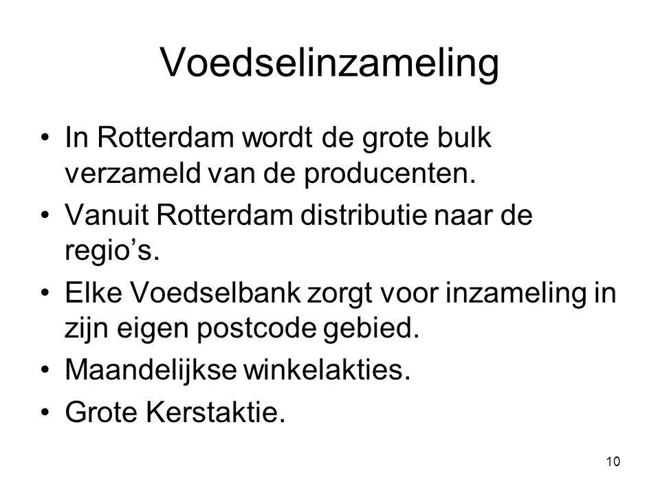 10 Voedselinzameling In Rotterdam wordt de grote bulk verzameld van de producenten. Vanuit Rotterdam distributie naar de regio's. Elke Voedselbank zor