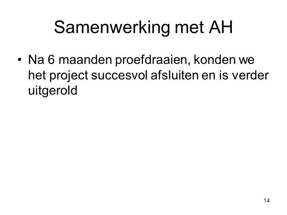 14 Samenwerking met AH Na 6 maanden proefdraaien, konden we het project succesvol afsluiten en is verder uitgerold