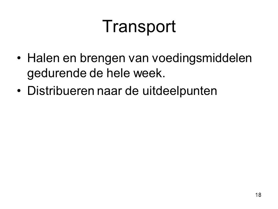 18 Transport Halen en brengen van voedingsmiddelen gedurende de hele week. Distribueren naar de uitdeelpunten