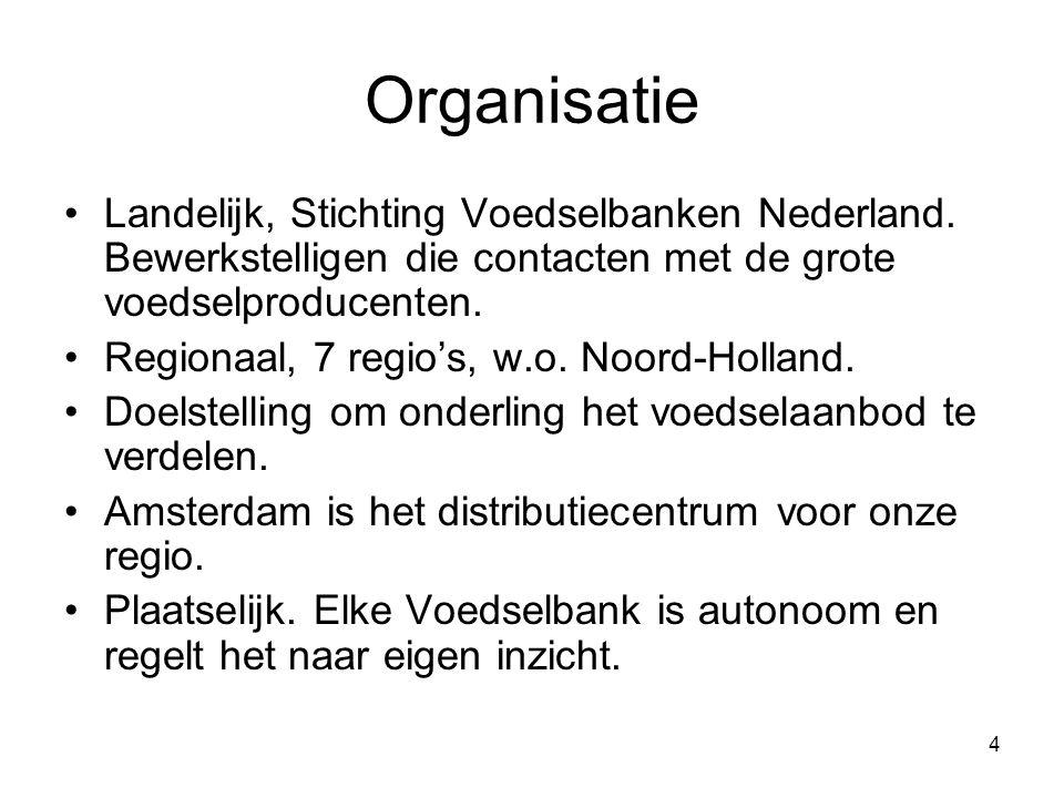 4 Organisatie Landelijk, Stichting Voedselbanken Nederland. Bewerkstelligen die contacten met de grote voedselproducenten. Regionaal, 7 regio's, w.o.