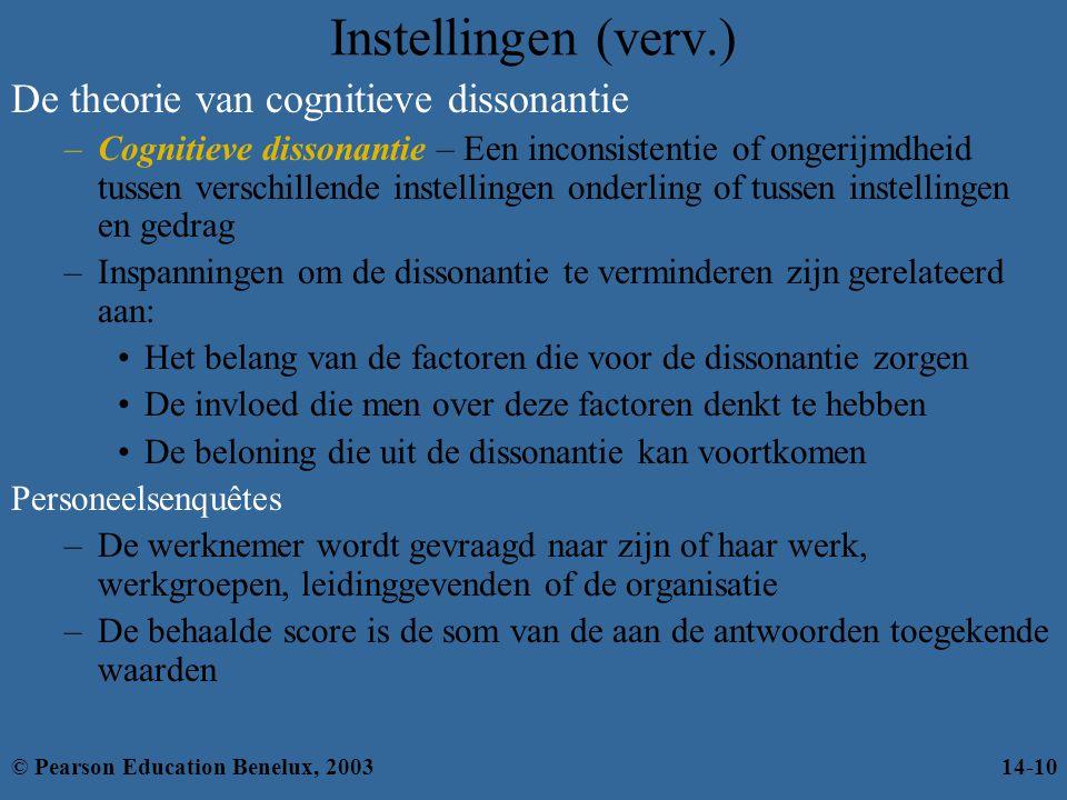 De theorie van cognitieve dissonantie –Cognitieve dissonantie – Een inconsistentie of ongerijmdheid tussen verschillende instellingen onderling of tus