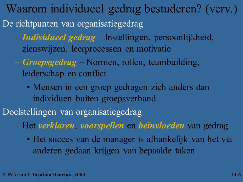 Waarom individueel gedrag bestuderen? (verv.) De richtpunten van organisatiegedrag –Individueel gedrag – Instellingen, persoonlijkheid, zienswijzen, l