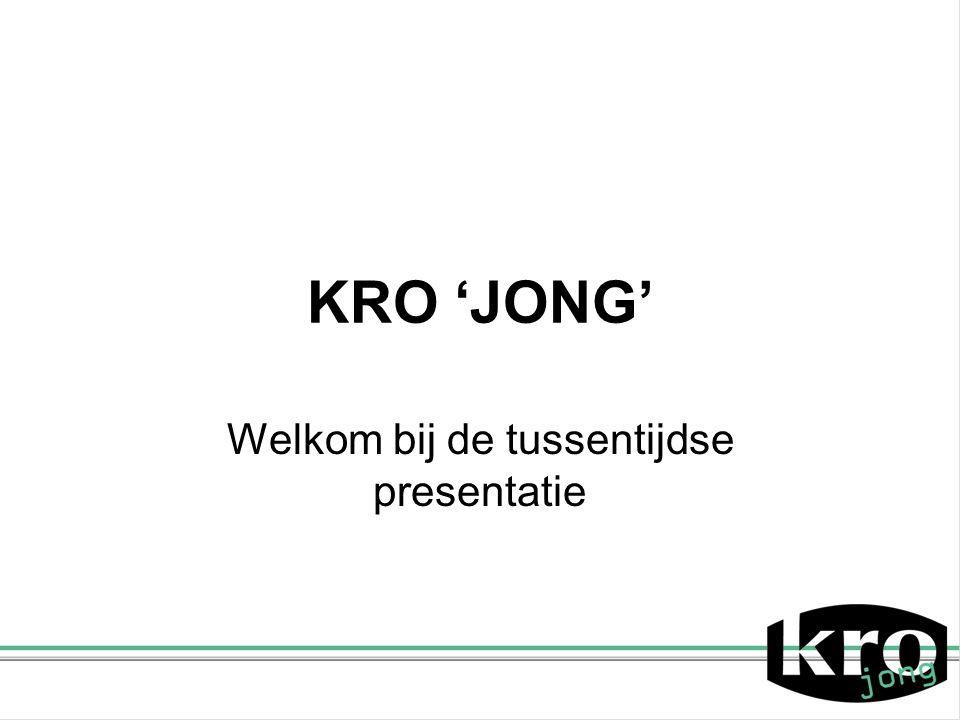 KRO 'JONG' Welkom bij de tussentijdse presentatie