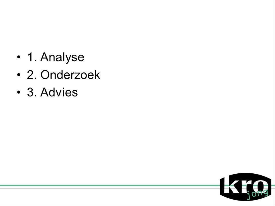 1. Analyse 2. Onderzoek 3. Advies