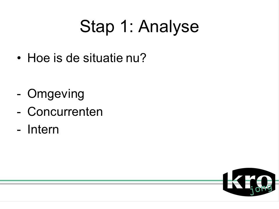 Stap 1: Analyse Hoe is de situatie nu? -Omgeving -Concurrenten -Intern