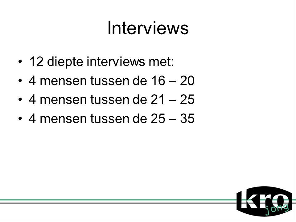 Interviews 12 diepte interviews met: 4 mensen tussen de 16 – 20 4 mensen tussen de 21 – 25 4 mensen tussen de 25 – 35