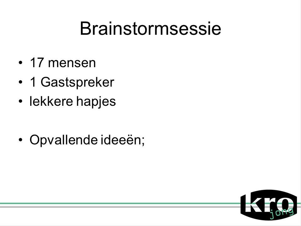 Brainstormsessie 17 mensen 1 Gastspreker lekkere hapjes Opvallende ideeën;