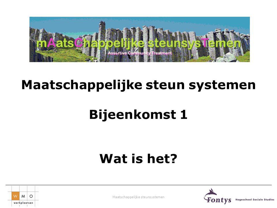 Maatschappelijke steunsystemen Netwerktafel Alkmaar Aanwezigen tijdens netwerktafel op dinsdag 6 maart 2012