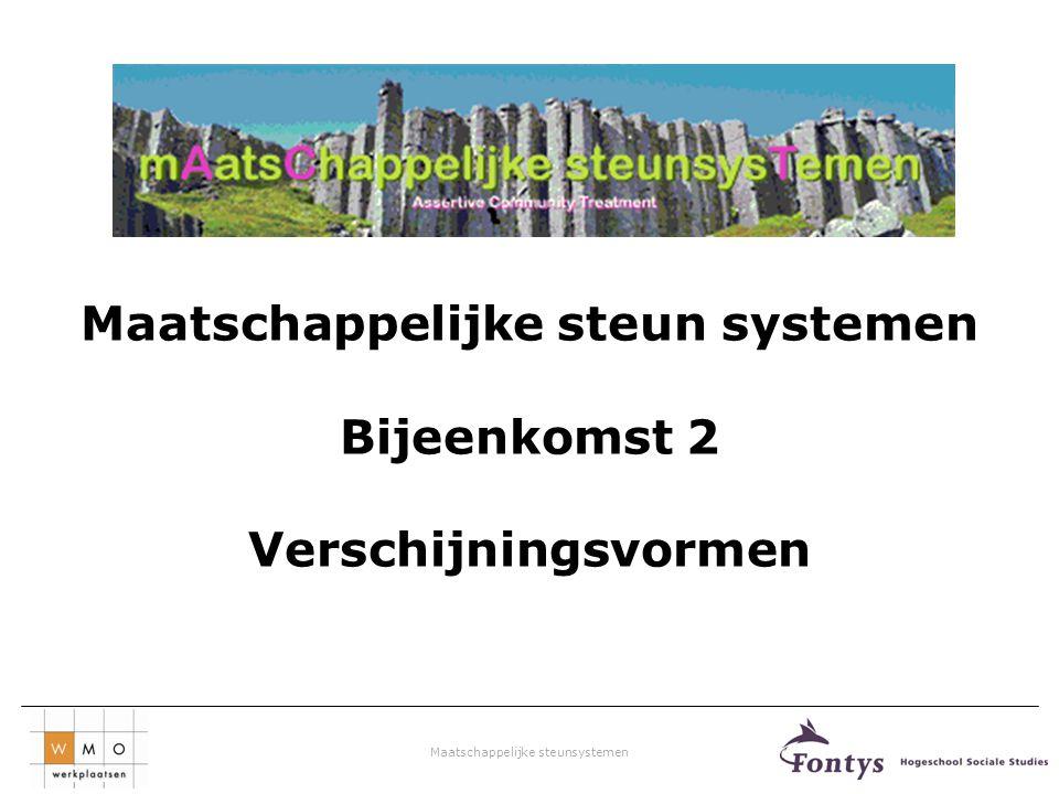 Maatschappelijke steunsystemen V&V combinatie van problemen 26% dak/thuisloos + psych.stoornis 35% dak/thuisloos + verslaving 14% psych.stoornis +verslaving 25% dak/thuisloos +psych.stoornis+verslaving