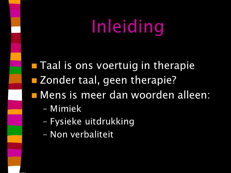 Inleiding Taal is ons voertuig in therapie Zonder taal, geen therapie.