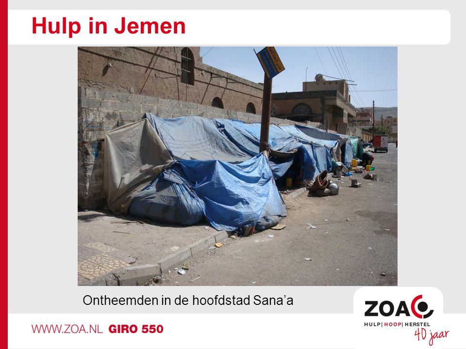 Hulp in Jemen Ontheemden in de hoofdstad Sana'a