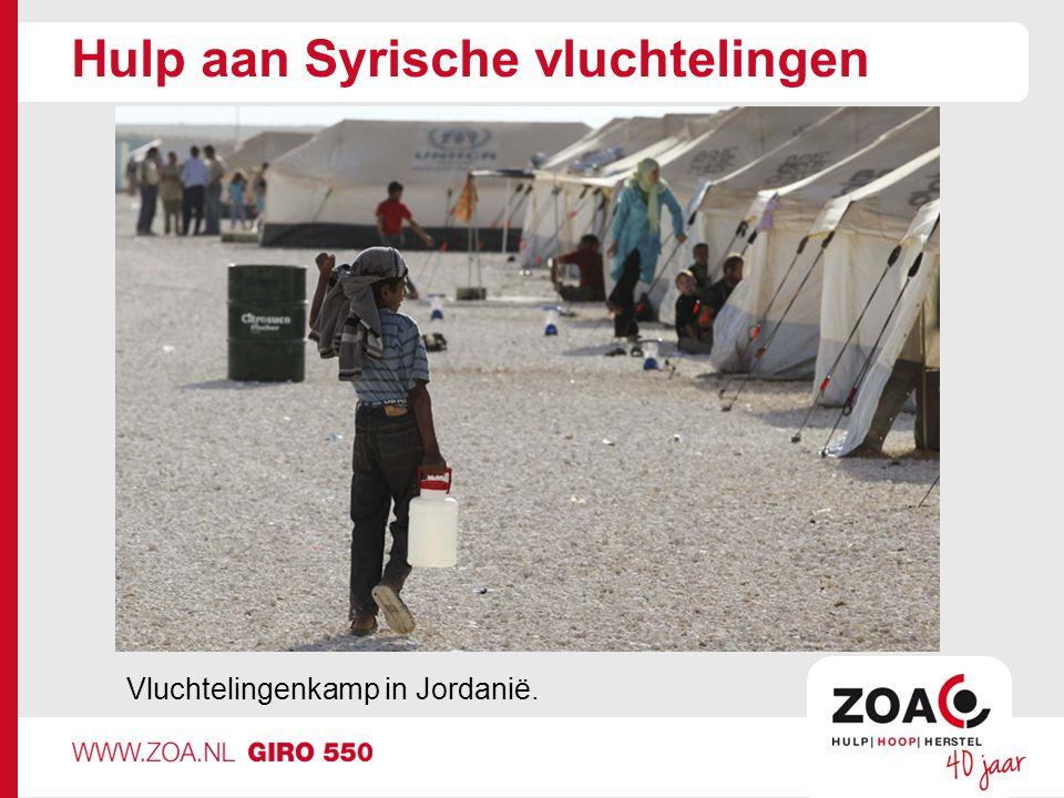 Hulp aan Syrische vluchtelingen Vluchtelingenkamp in Jordanië.