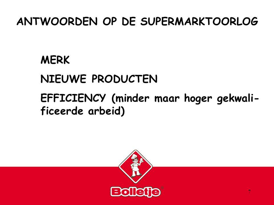 7 ANTWOORDEN OP DE SUPERMARKTOORLOG MERK NIEUWE PRODUCTEN EFFICIENCY (minder maar hoger gekwali- ficeerde arbeid)