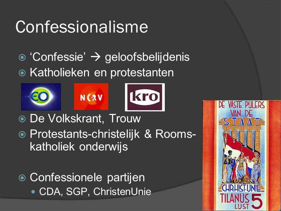 Confessionalisme  'Confessie'  geloofsbelijdenis  Katholieken en protestanten  De Volkskrant, Trouw  Protestants-christelijk & Rooms- katholiek o