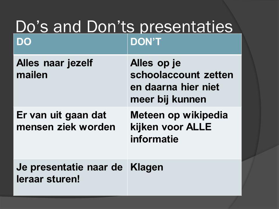 Do's and Don'ts presentaties DODON'T Alles naar jezelf mailen Alles op je schoolaccount zetten en daarna hier niet meer bij kunnen Er van uit gaan dat