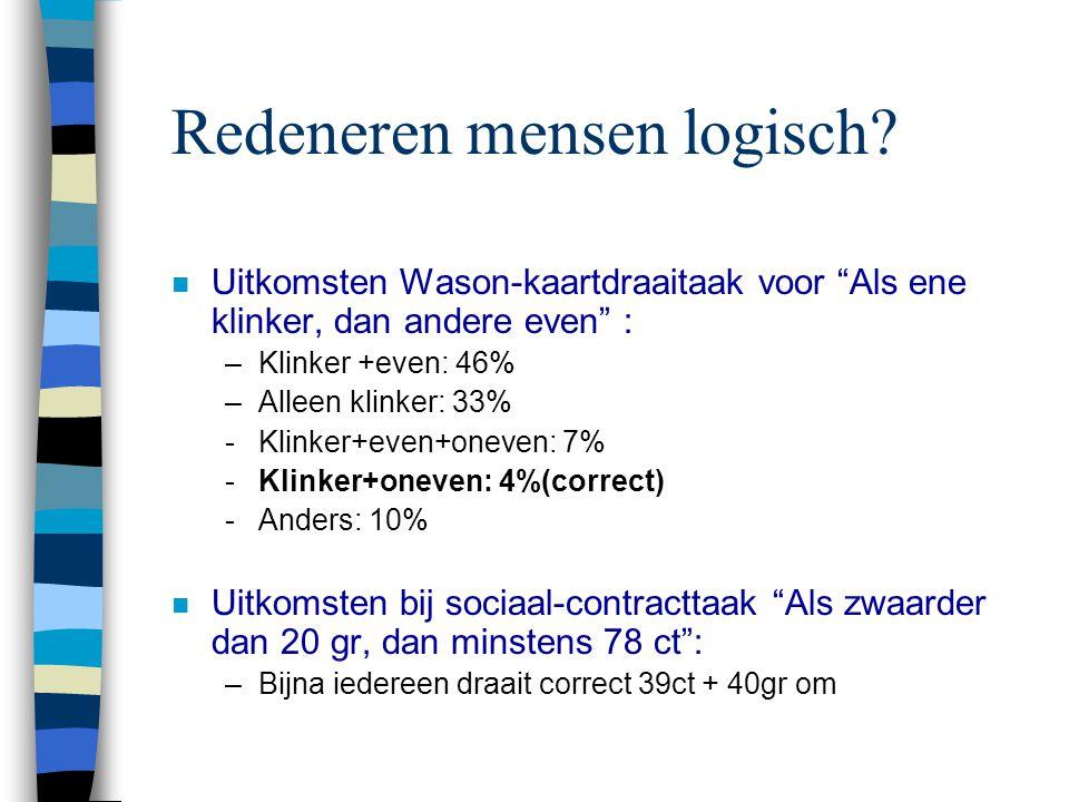 """Redeneren mensen logisch? n Uitkomsten Wason-kaartdraaitaak voor """"Als ene klinker, dan andere even"""" : –Klinker +even: 46% –Alleen klinker: 33% -Klinke"""